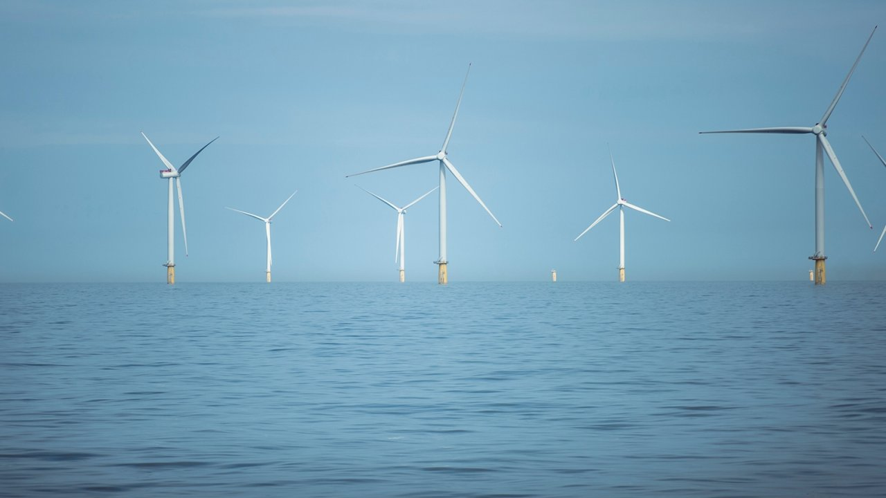Dudgeon offshore wind farm is located off the coast of England