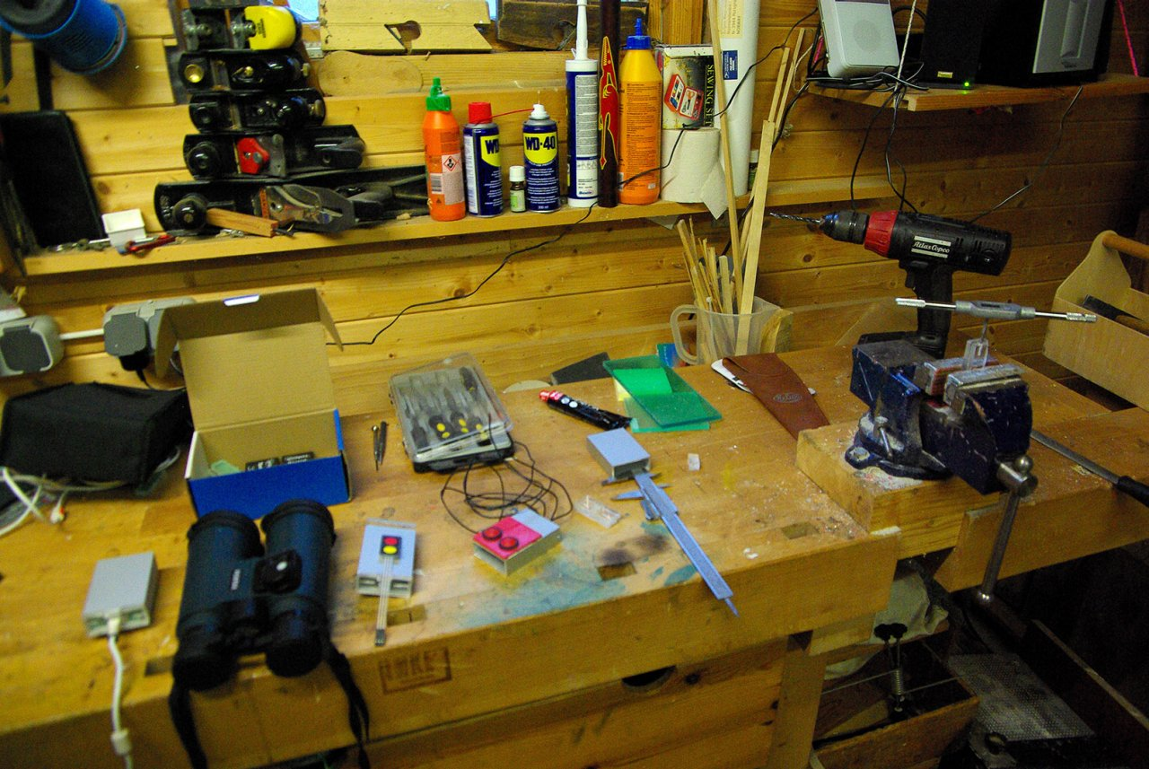 A work bench covered in tools